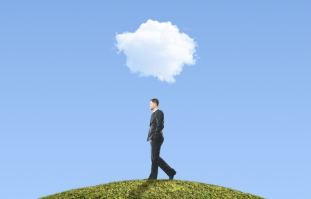 man walking and cloud, business concept photo