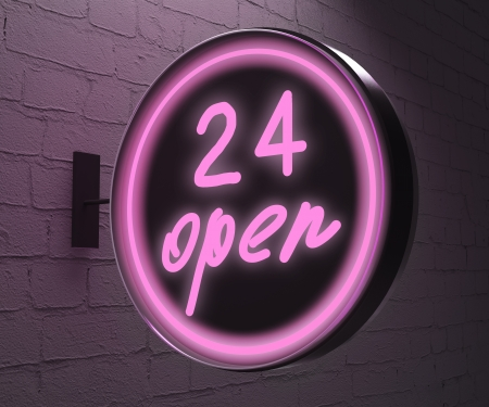 24 hours: 24 open sign on wall