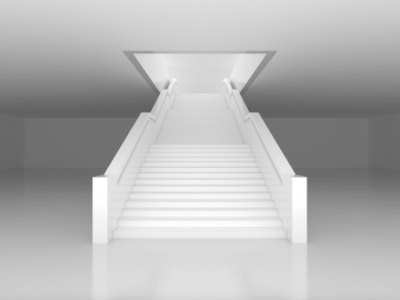 White staircase to open door photo