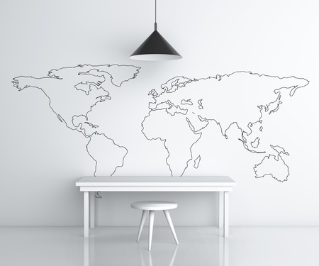 room with furniture and drawing world map on wall photo