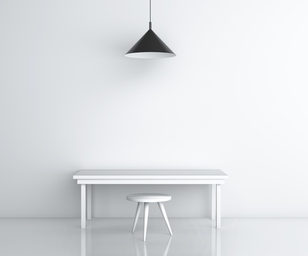 plafond: white room with table and chair
