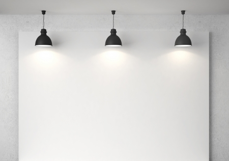 blank poster in room with ceiling lamp Stock Photo - 18243800