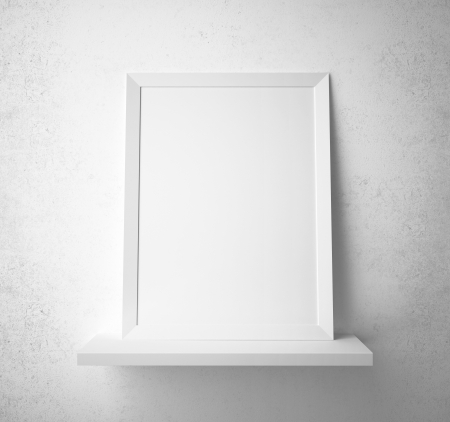 3d interior picture: blank paper frame on the shelf