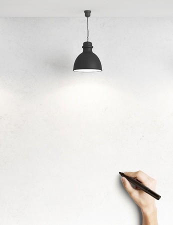loft interior: hand drawing on concrete wall Stock Photo