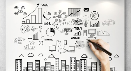 hand drawing business concept on wall Stock Photo - 18243799