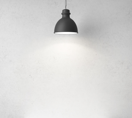 3d image: concrete wall and ceiling lamps