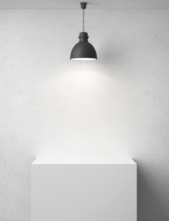 concrete room: white concrete room with podium and lamp Stock Photo