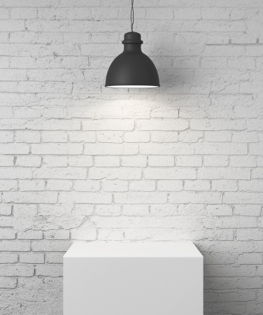 building material: white brick room with podium and lamp Stock Photo