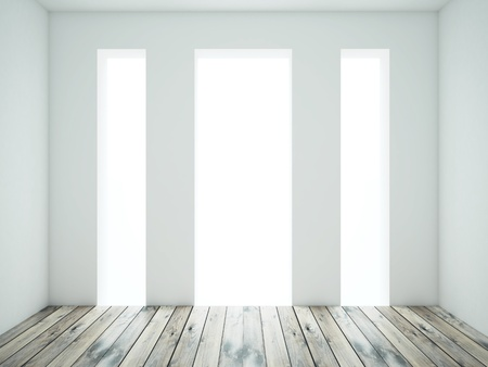 white room with wood floor photo