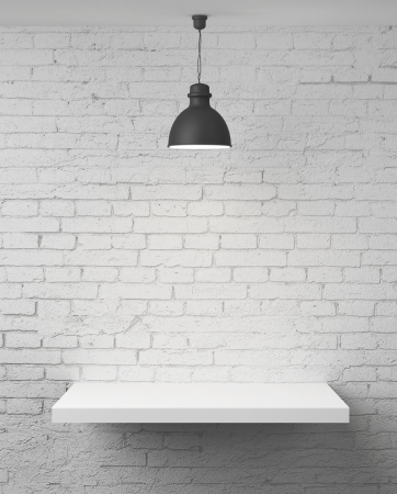 white brick wall with shelf and lamp