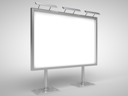 blank billboard with lamp isolated on white Stock Photo - 18324798