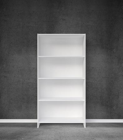 bookshelf and gray concrete wall photo