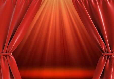 curtain and bright stage with spot lights photo