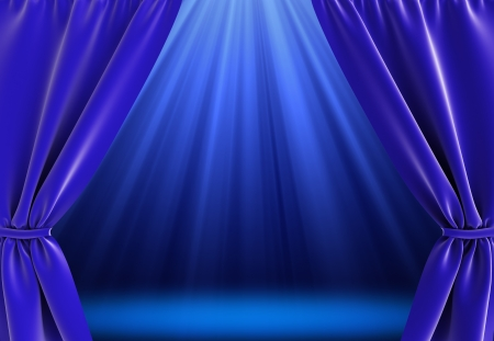 blue curtain and bright stage with spot lights photo