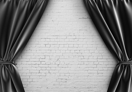 black curtain and brick wall photo