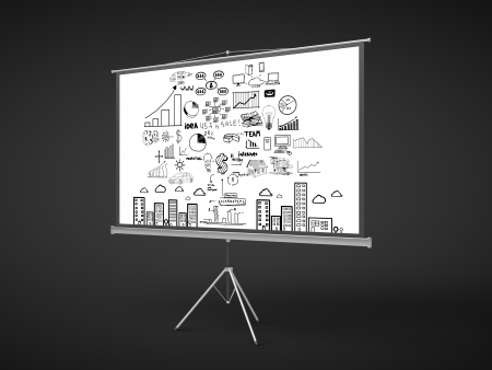 ecran: flip chart with business concept on a black background