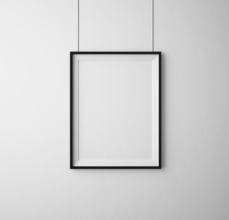 blank wall: black frames on white wall Stock Photo