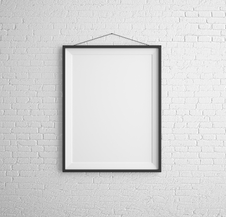 black frames on brick wall Stock Photo
