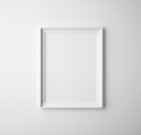 blank paper frames on white wall photo