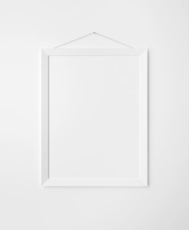 picture frame on wall: paper frames on white wall Stock Photo