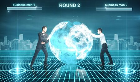 Battle of businessman in cyberspace photo