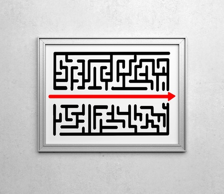 frames with drawing maze on wall photo