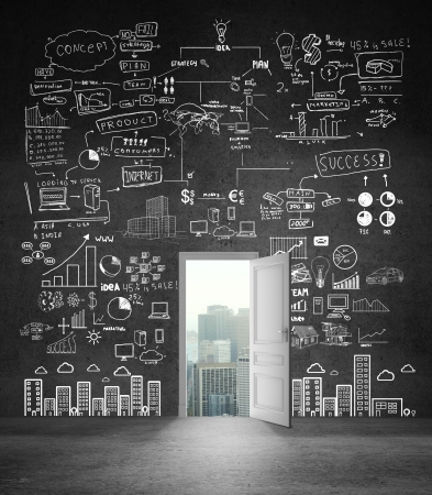 education background: opened cocnrete wall with big drawing concept Stock Photo
