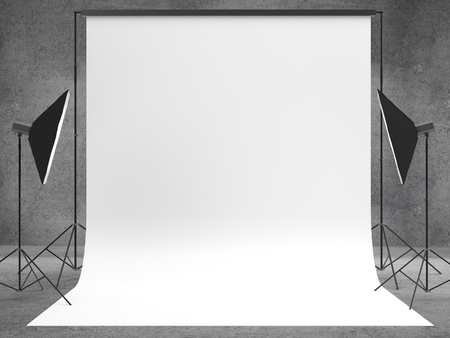studio with a light set-up and backdrop photo