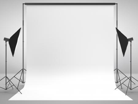 studio fotografico con una luce di set-up e sfondo