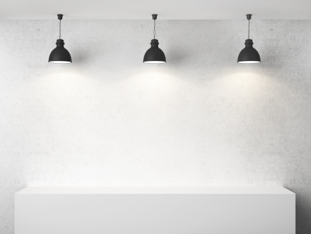 presentation background: white room with presentation cube and three lamp Stock Photo