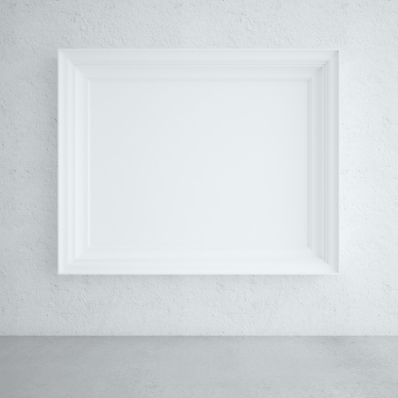 blank frames on white wall photo