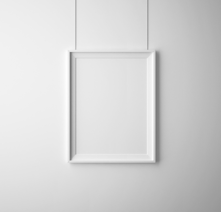 frame on wall: manifesto in bianco di carta sul muro bianco
