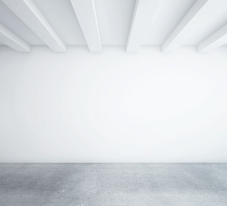 bianco camera soppalcata vuota e pavimento in legno