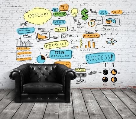strategy: silla en altillo con la elaboraci�n de conceptos sobre la pared de ladrillo
