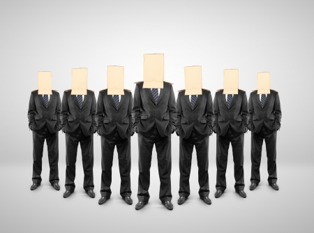 group of businessman with a box on head Stock Photo - 18325796