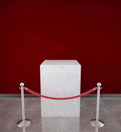 velvet rope barrier: empty showcase with red gallery