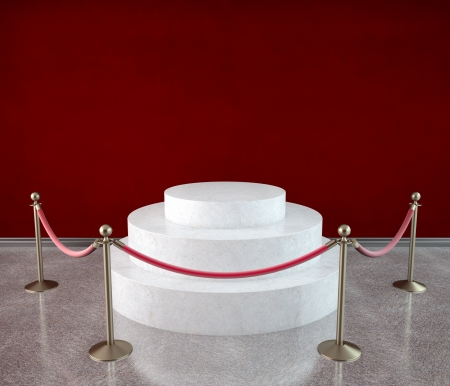 velvet rope barrier: empty podium in red gallery