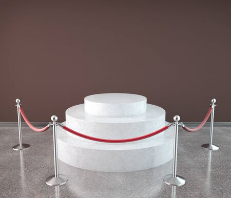 red barrier velvet: empty presentation podium in red gallery