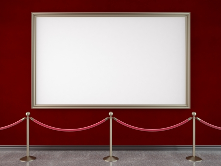 velvet rope barrier: gallery with stanchions and blank frame