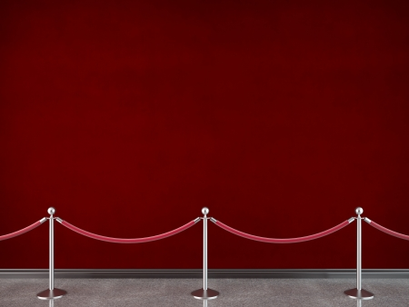 velvet rope barrier: gallery stanchions and red wall