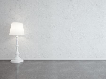 interior blanco con lámpara de pie