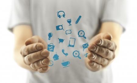 singn: man with social media i�on on white background