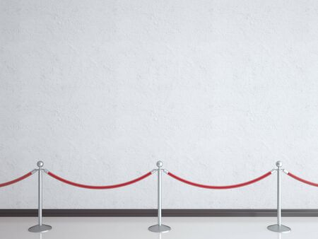velvet rope barrier: stanchions and white wall in gallery