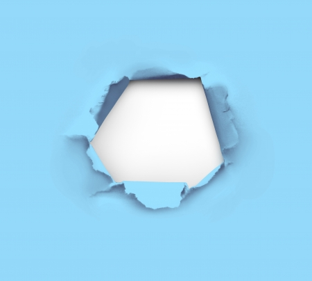 high resolution hole in blue paper Stock Photo - 18325400