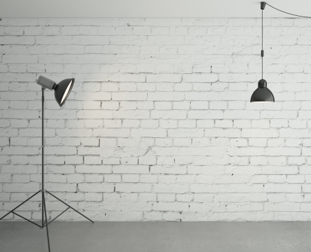 room with spotlight and lamp photo