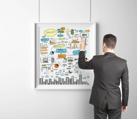 businessman drawing business strategy on frame photo