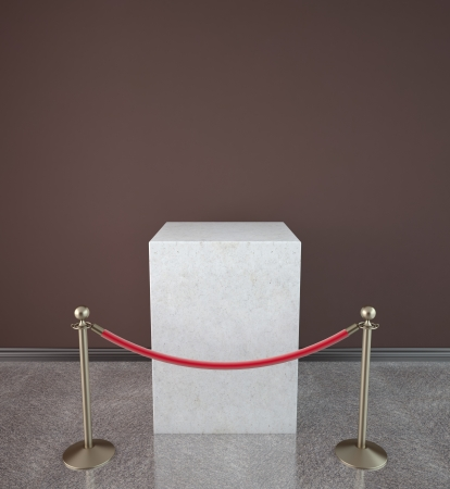 barrier rope: empty showcase with red gallery