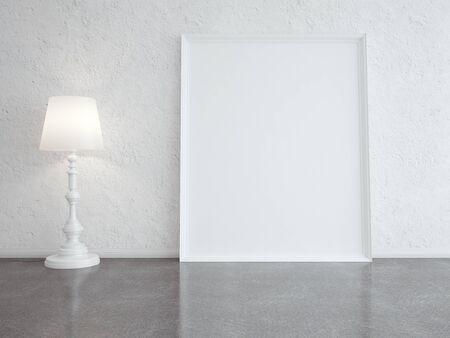 lámpara de pie blanco y marco en habitación