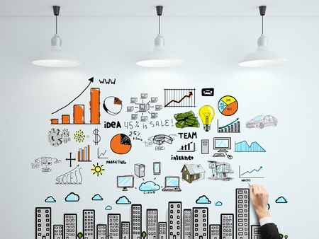 hand drawing business strategy on wall Stock Photo - 18488909