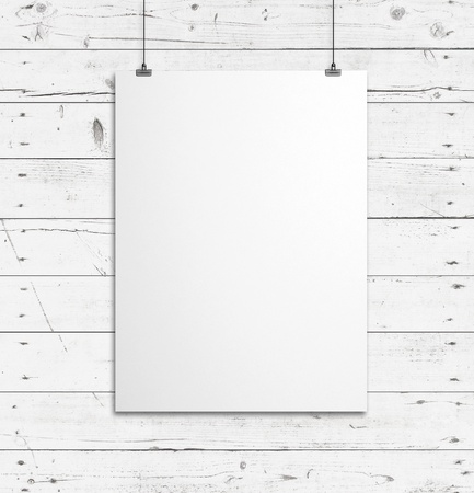 CLIP BOARD: blank paper clips and wood background
